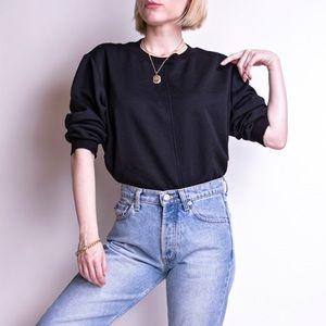 Vintage 80s black minimal boxy crewneck sweater